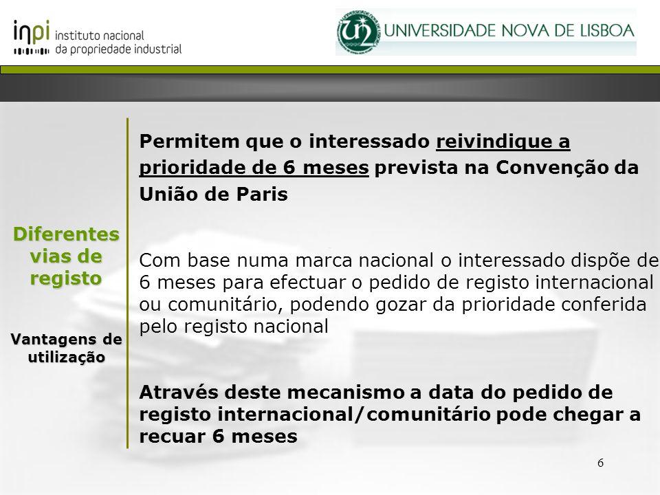 6 Permitem que o interessado reivindique a prioridade de 6 meses prevista na Convenção da União de Paris Com base numa marca nacional o interessado di