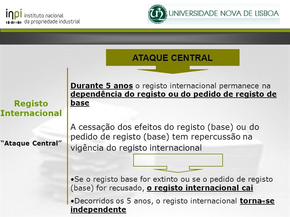 71 Durante 5 anos o registo internacional permanece na dependência do registo ou do pedido de registo de base A cessação dos efeitos do registo (base)