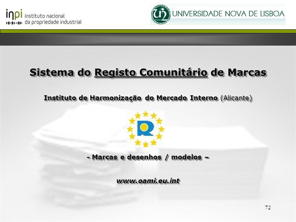 72 Sistema do Registo Comunitário de Marcas Instituto de Harmonização do Mercado Interno (Alicante) - Marcas e desenhos / modelos – www.oami.eu.int Si