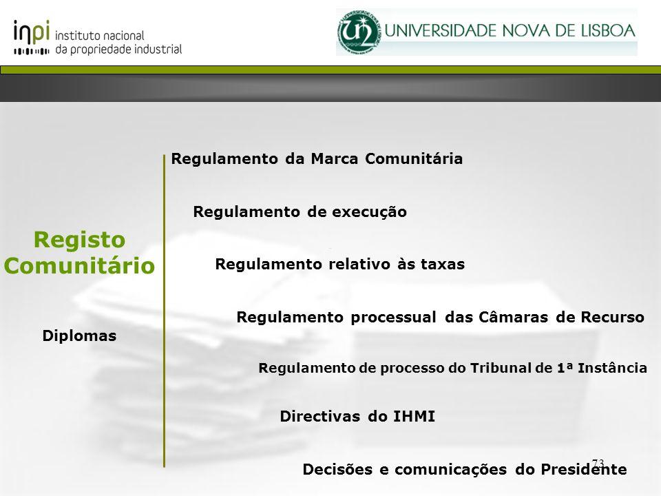 73 Regulamento da Marca Comunitária Regulamento de execução Regulamento relativo às taxas Regulamento processual das Câmaras de Recurso Regulamento de
