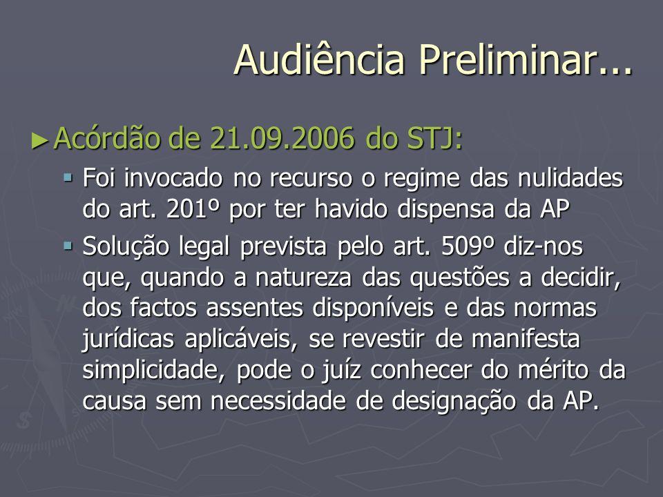 Audiência Preliminar... Acórdão de 21.09.2006 do STJ: Acórdão de 21.09.2006 do STJ: Foi invocado no recurso o regime das nulidades do art. 201º por te