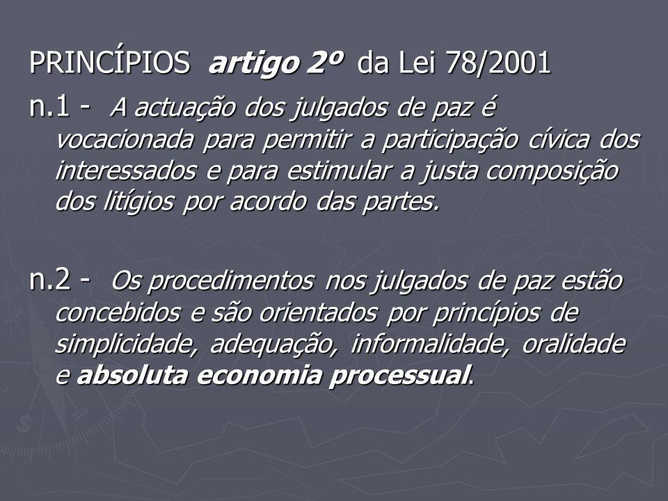 PRINCÍPIOS artigo 2º da Lei 78/2001 n.1 - A actuação dos julgados de paz é vocacionada para permitir a participação cívica dos interessados e para est