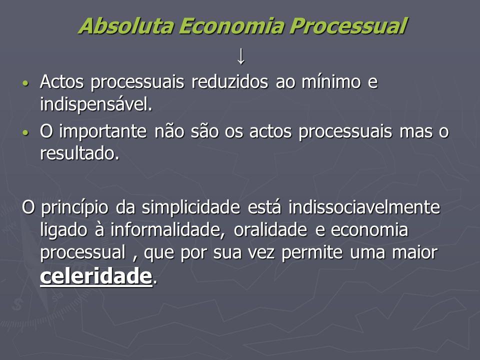Absoluta Economia Processual Actos processuais reduzidos ao mínimo e indispensável. Actos processuais reduzidos ao mínimo e indispensável. O important