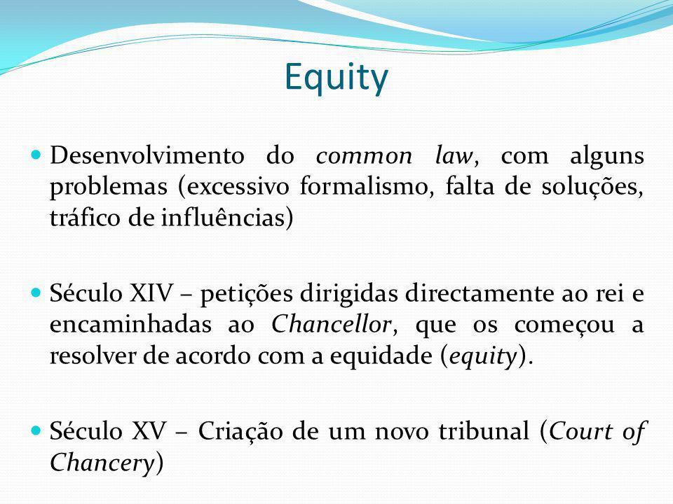 Equity Desenvolvimento do common law, com alguns problemas (excessivo formalismo, falta de soluções, tráfico de influências) Século XIV – petições dir