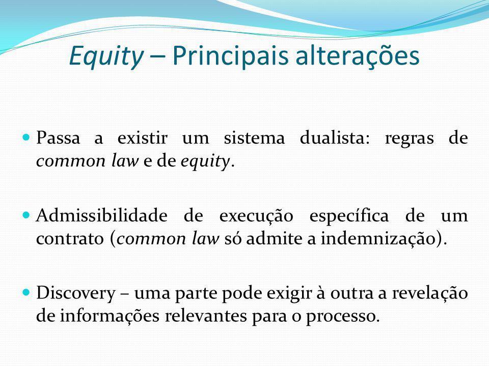 Equity – Principais alterações Passa a existir um sistema dualista: regras de common law e de equity. Admissibilidade de execução específica de um con