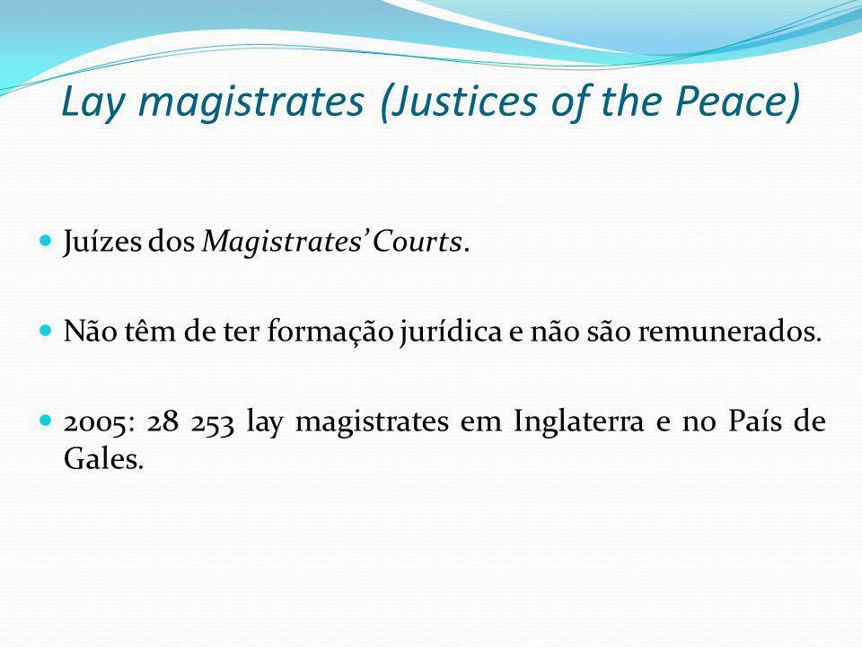 Lay magistrates (Justices of the Peace) Juízes dos Magistrates Courts. Não têm de ter formação jurídica e não são remunerados. 2005: 28 253 lay magist