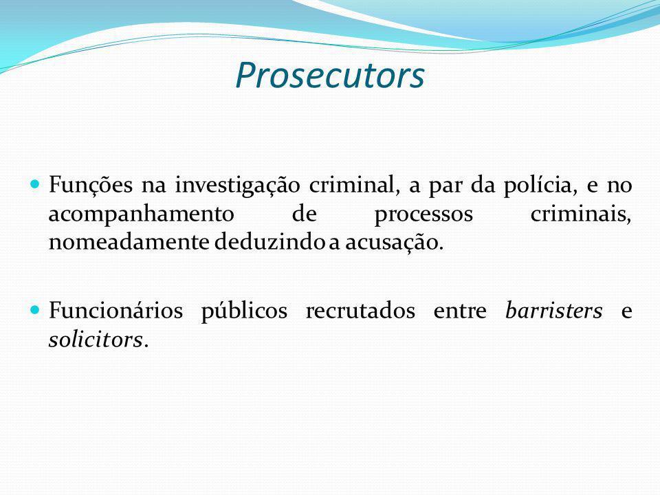 Prosecutors Funções na investigação criminal, a par da polícia, e no acompanhamento de processos criminais, nomeadamente deduzindo a acusação. Funcion