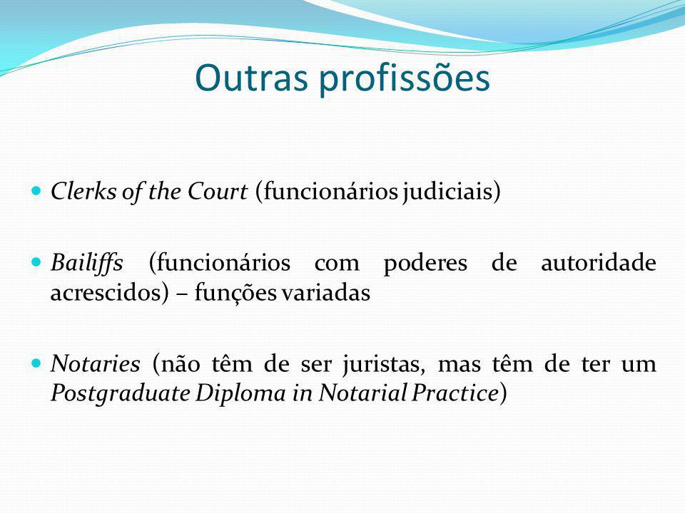 Outras profissões Clerks of the Court (funcionários judiciais) Bailiffs (funcionários com poderes de autoridade acrescidos) – funções variadas Notarie