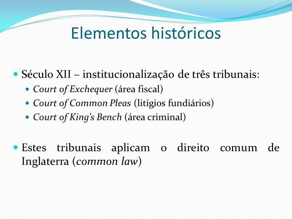Elementos históricos Século XII – institucionalização de três tribunais: Court of Exchequer (área fiscal) Court of Common Pleas (litígios fundiários)