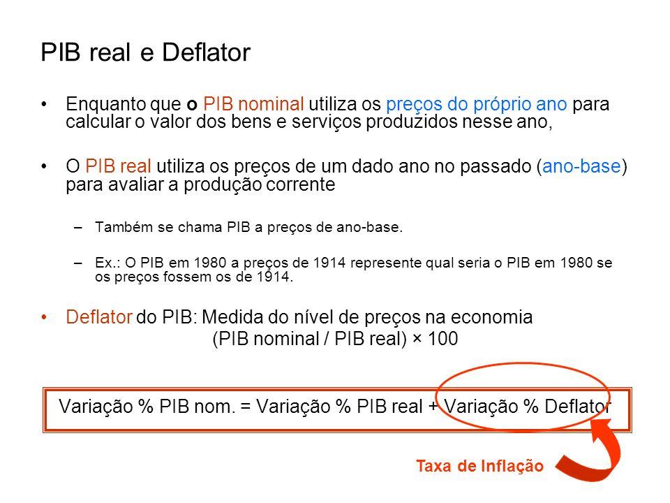 PIB real e Deflator Enquanto que o PIB nominal utiliza os preços do próprio ano para calcular o valor dos bens e serviços produzidos nesse ano, O PIB