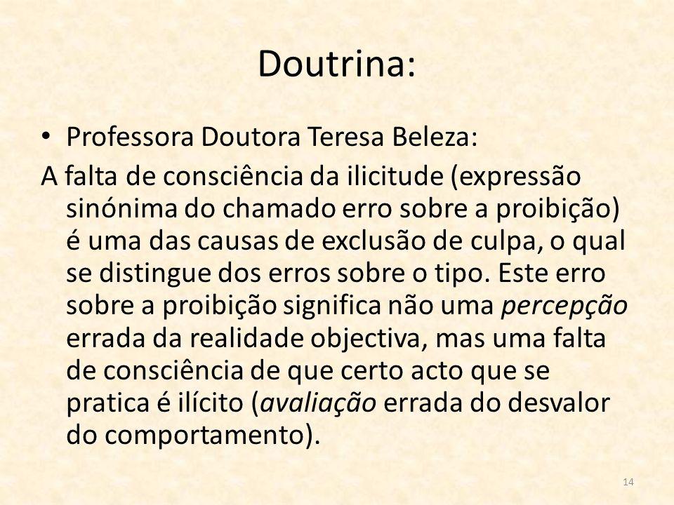 14 Doutrina: Professora Doutora Teresa Beleza: A falta de consciência da ilicitude (expressão sinónima do chamado erro sobre a proibição) é uma das ca