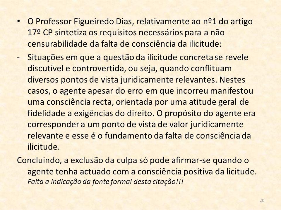 20 O Professor Figueiredo Dias, relativamente ao nº1 do artigo 17º CP sintetiza os requisitos necessários para a não censurabilidade da falta de consc