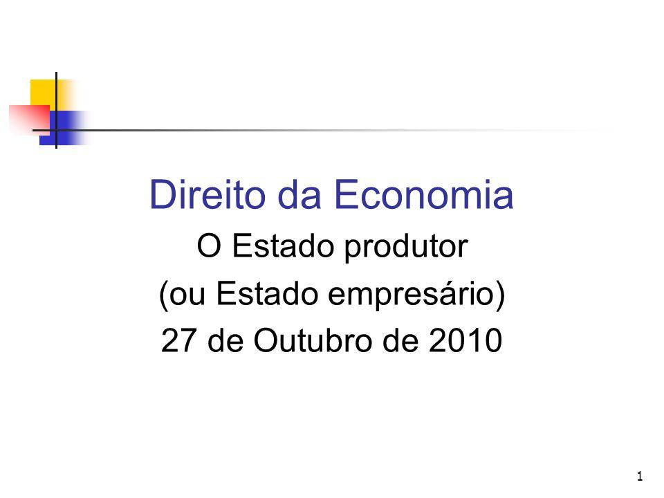 1 Direito da Economia O Estado produtor (ou Estado empresário) 27 de Outubro de 2010