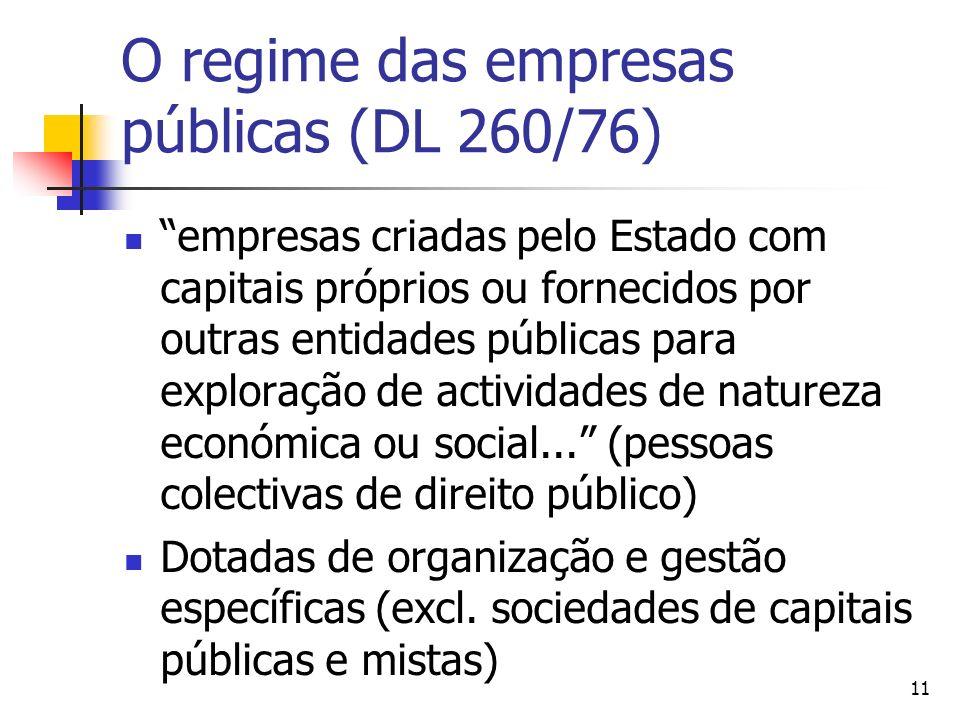 11 O regime das empresas públicas (DL 260/76) empresas criadas pelo Estado com capitais próprios ou fornecidos por outras entidades públicas para expl