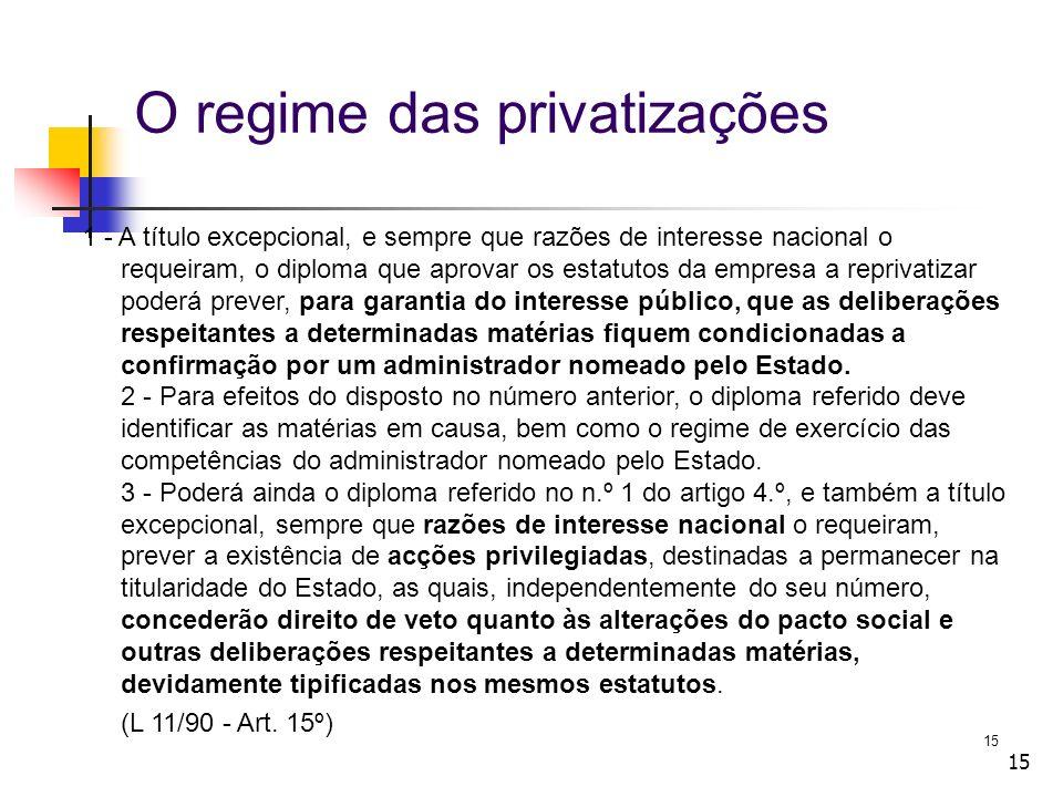 15 O regime das privatizações 1 - A título excepcional, e sempre que razões de interesse nacional o requeiram, o diploma que aprovar os estatutos da e