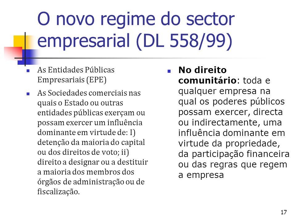 17 O novo regime do sector empresarial (DL 558/99) As Entidades Públicas Empresariais (EPE) As Sociedades comerciais nas quais o Estado ou outras enti