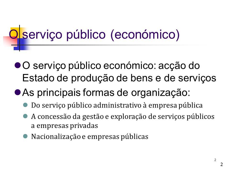 2 2 O serviço público (económico) O serviço público económico: acção do Estado de produção de bens e de serviços As principais formas de organização: