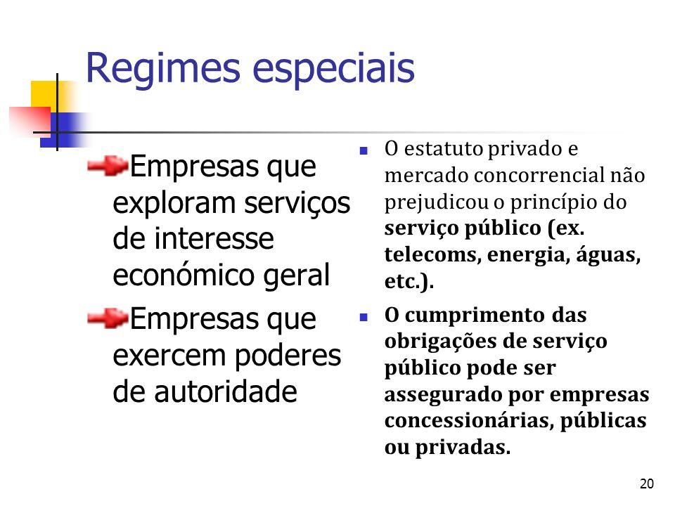 20 Regimes especiais Empresas que exploram serviços de interesse económico geral Empresas que exercem poderes de autoridade O estatuto privado e merca