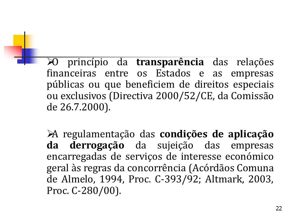 22 O princípio da transparência das relações financeiras entre os Estados e as empresas públicas ou que beneficiem de direitos especiais ou exclusivos