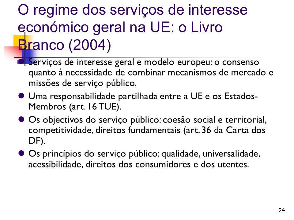 24 O regime dos serviços de interesse económico geral na UE: o Livro Branco (2004) Serviços de interesse geral e modelo europeu: o consenso quanto à n