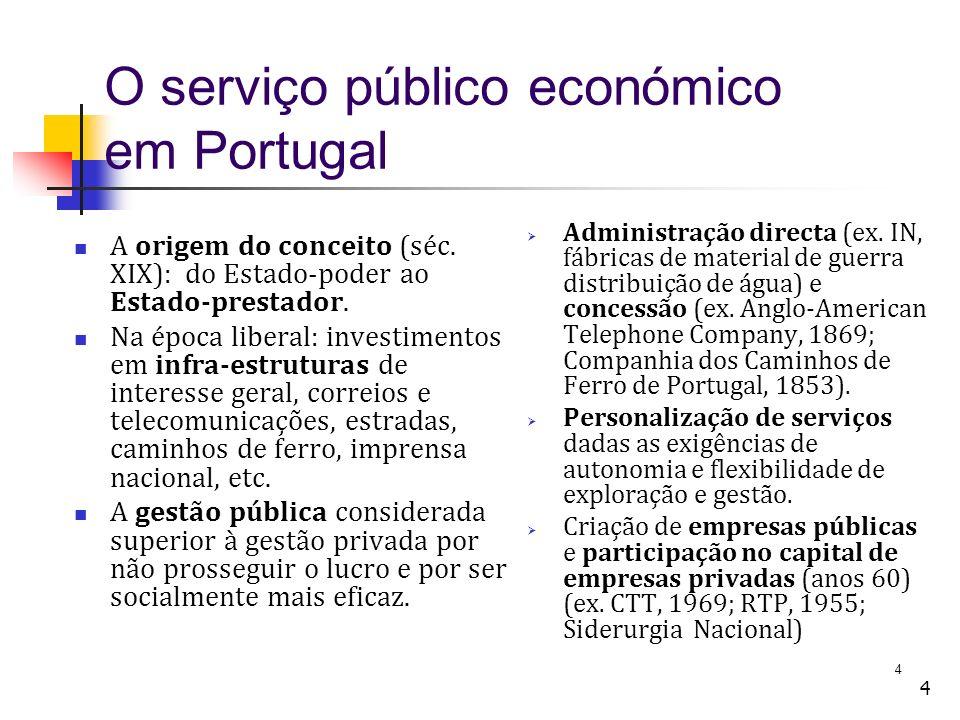 4 4 O serviço público económico em Portugal A origem do conceito (séc. XIX): do Estado-poder ao Estado-prestador. Na época liberal: investimentos em i