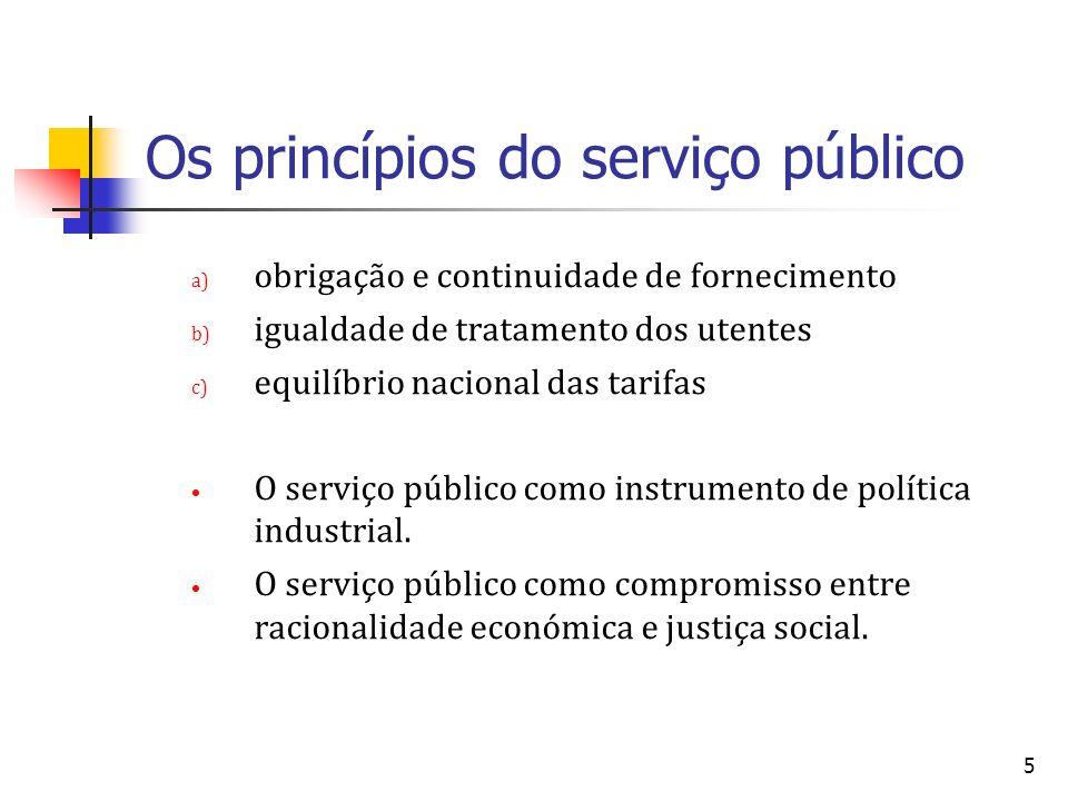 5 Os princípios do serviço público a) obrigação e continuidade de fornecimento b) igualdade de tratamento dos utentes c) equilíbrio nacional das tarif