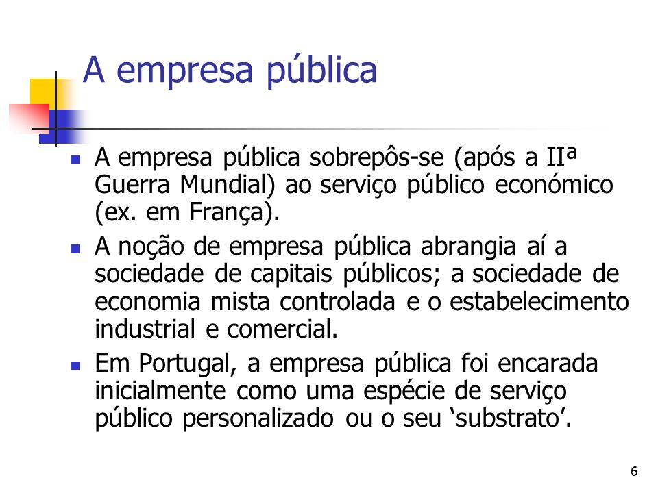 6 A empresa pública A empresa pública sobrepôs-se (após a IIª Guerra Mundial) ao serviço público económico (ex. em França). A noção de empresa pública