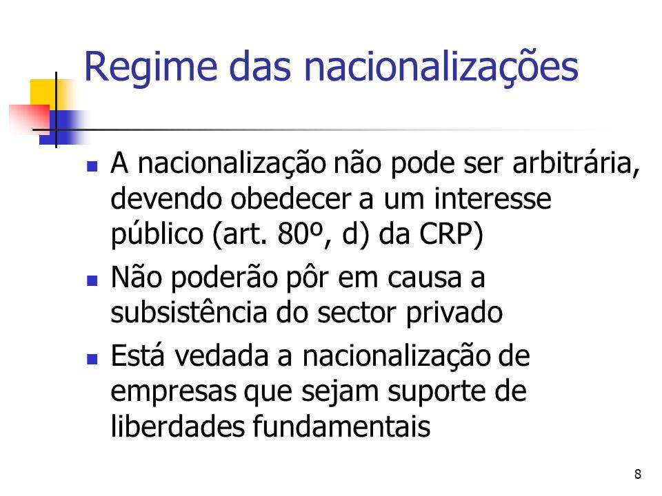 8 Regime das nacionalizações A nacionalização não pode ser arbitrária, devendo obedecer a um interesse público (art. 80º, d) da CRP) Não poderão pôr e