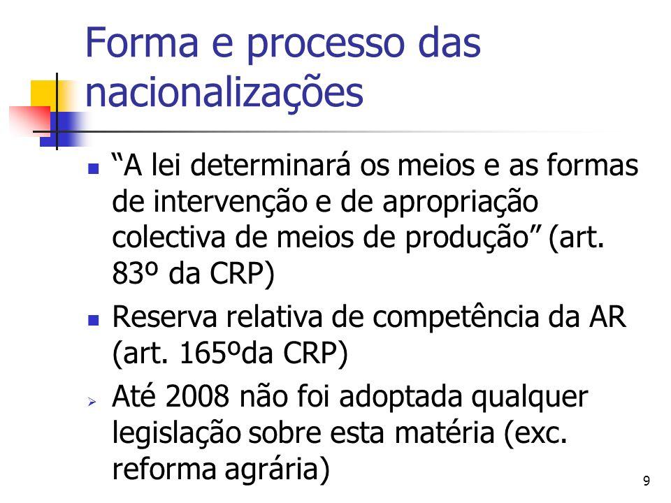9 Forma e processo das nacionalizações A lei determinará os meios e as formas de intervenção e de apropriação colectiva de meios de produção (art. 83º
