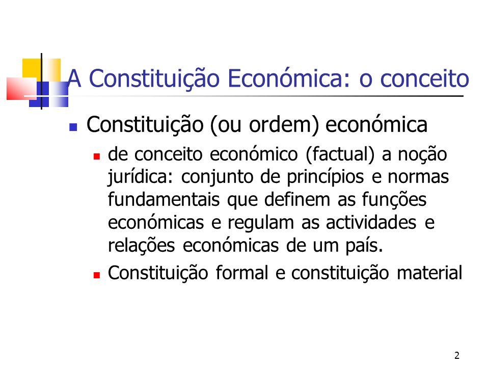 3 Sistema económico e Constituição económica A questão hoje não é a de contrapor duas concepções de Estado – o Estado mínimo do liberalismo e o Estado produtor do intervencionismo, mas de combinar as necessidades de regulação económica e a definição dos limites da intervenção estatal.