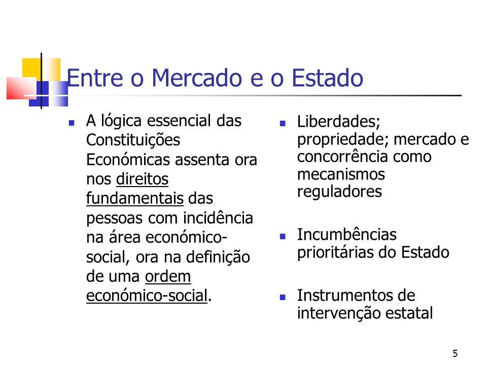5 Entre o Mercado e o Estado A lógica essencial das Constituições Económicas assenta ora nos direitos fundamentais das pessoas com incidência na área económico- social, ora na definição de uma ordem económico-social.