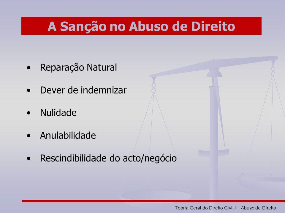 Teoria Geral do Direito Civil I – Abuso de Direito Reparação Natural Dever de indemnizar Nulidade Anulabilidade Rescindibilidade do acto/negócio A Sanção no Abuso de Direito