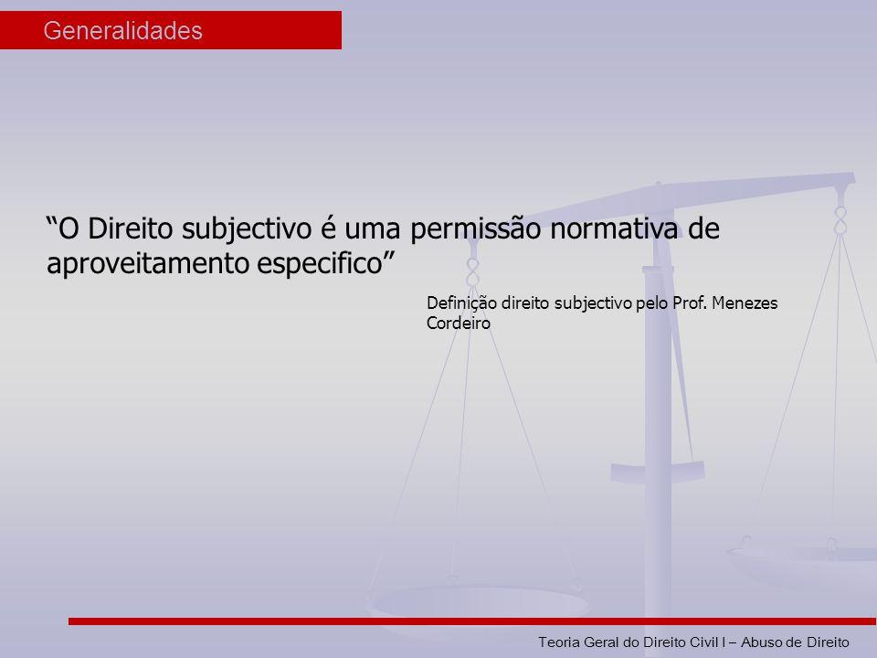 Teoria Geral do Direito Civil I – Abuso de Direito Generalidades O Direito subjectivo é uma permissão normativa de aproveitamento especifico Definição direito subjectivo pelo Prof.