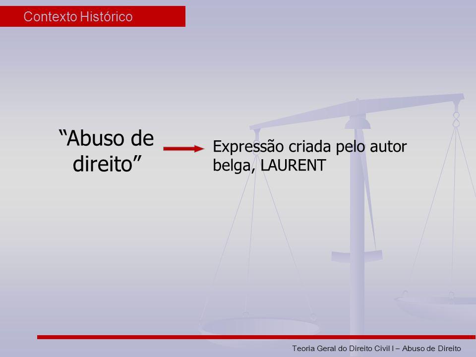 Teoria Geral do Direito Civil I – Abuso de Direito Contexto Histórico Abuso de direito Expressão criada pelo autor belga, LAURENT
