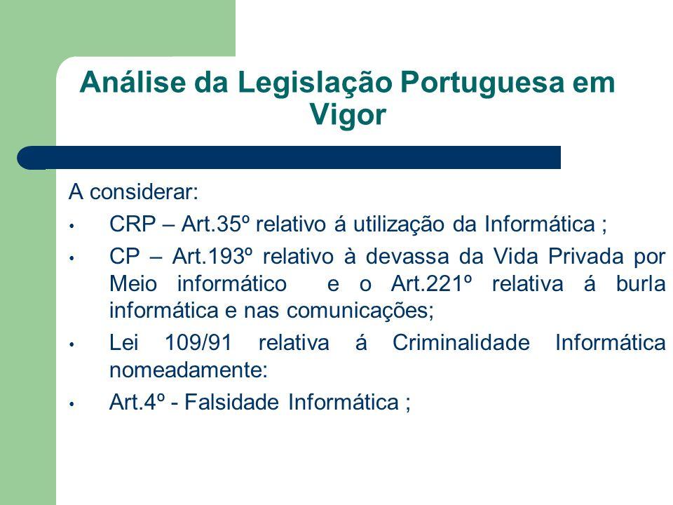 Análise da Legislação Portuguesa em Vigor A considerar: CRP – Art.35º relativo á utilização da Informática ; CP – Art.193º relativo à devassa da Vida