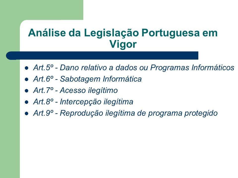 Análise da Legislação Portuguesa em Vigor Art.5º - Dano relativo a dados ou Programas Informáticos Art.6º - Sabotagem Informática Art.7º - Acesso ileg