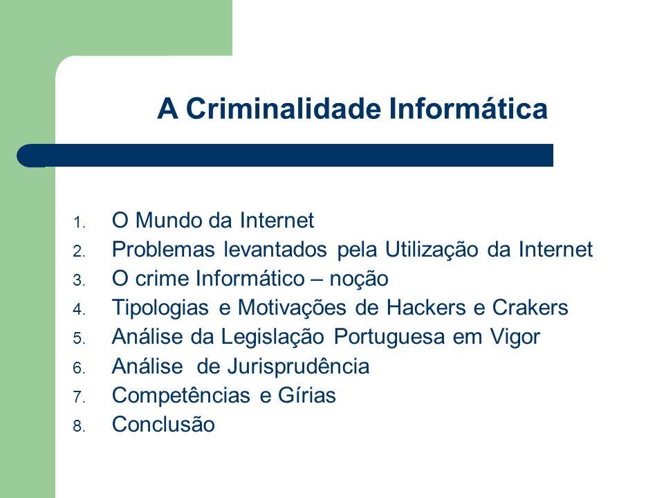 O Mundo da Internet Problemas levantados pela Utilização da Internet O crime Informático – noção Tipologias e Motivações de Hackers e Crakers Análise