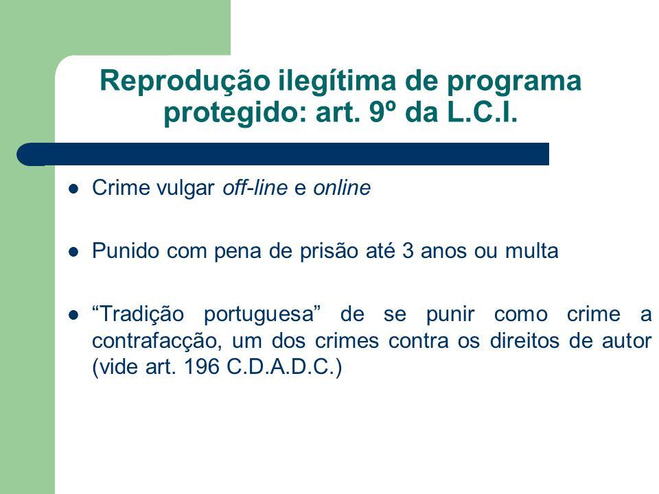 Crime vulgar off-line e online Punido com pena de prisão até 3 anos ou multa Tradição portuguesa de se punir como crime a contrafacção, um dos crimes