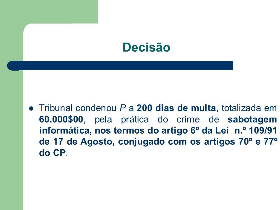 Decisão Tribunal condenou P a 200 dias de multa, totalizada em 60.000$00, pela prática do crime de sabotagem informática, nos termos do artigo 6º da L