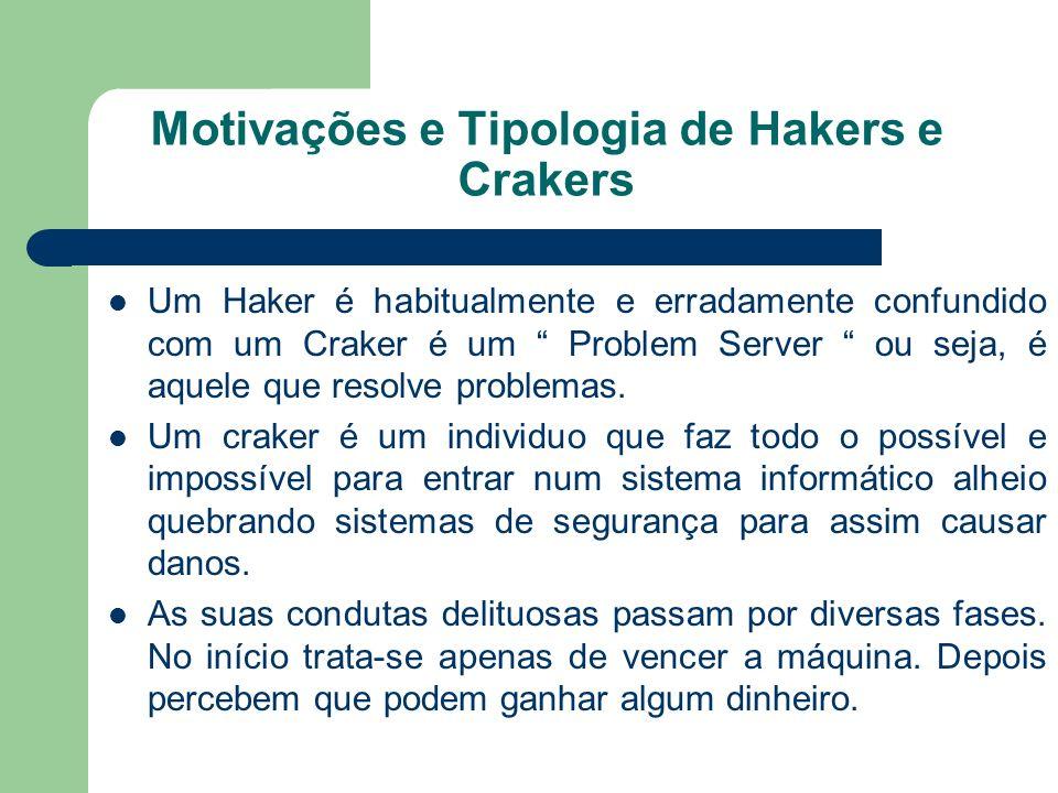 Motivações e Tipologia de Hakers e Crakers Um Haker é habitualmente e erradamente confundido com um Craker é um Problem Server ou seja, é aquele que r