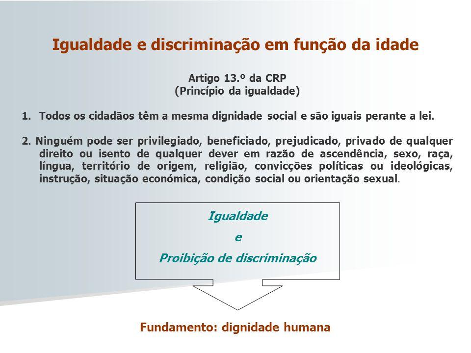 Artigo 13.º da CRP (Princípio da igualdade) 1.Todos os cidadãos têm a mesma dignidade social e são iguais perante a lei. 2. Ninguém pode ser privilegi