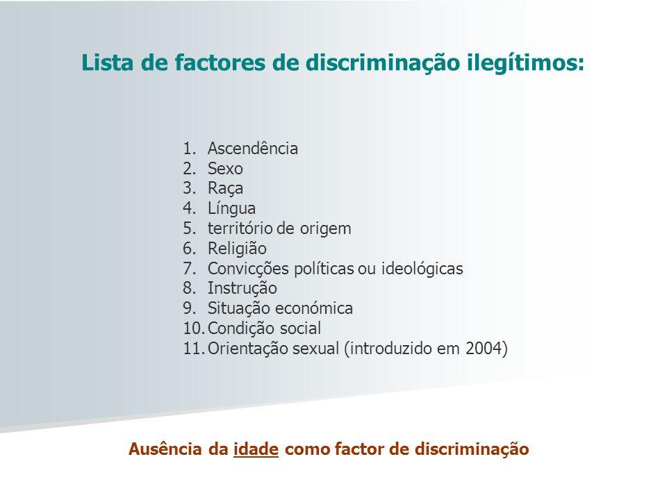 Lista de factores de discriminação ilegítimos: Ausência da idade como factor de discriminação 1.Ascendência 2.Sexo 3.Raça 4.Língua 5.território de ori