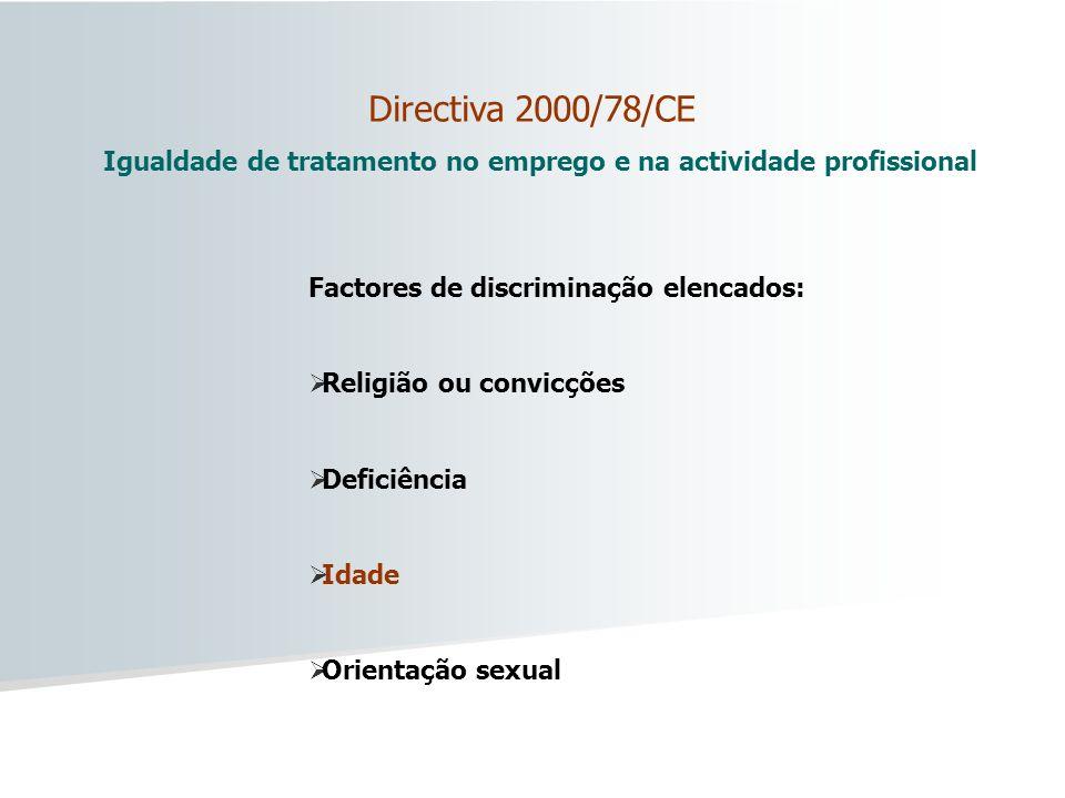 Directiva 2000/78/CE Igualdade de tratamento no emprego e na actividade profissional Factores de discriminação elencados: Religião ou convicções Defic