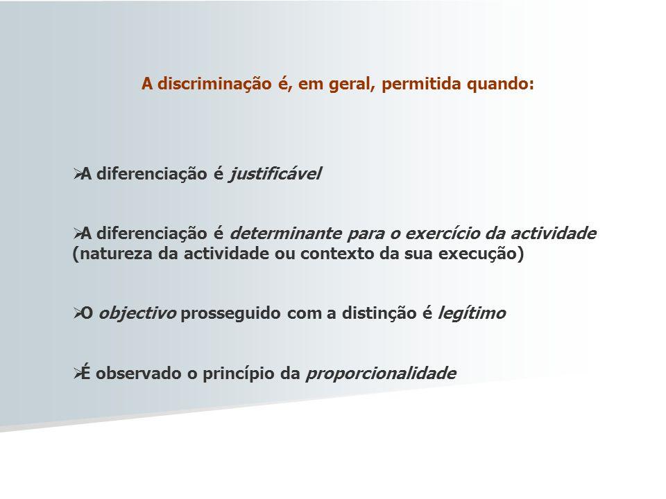 A discriminação é, em geral, permitida quando: A diferenciação é justificável A diferenciação é determinante para o exercício da actividade (natureza