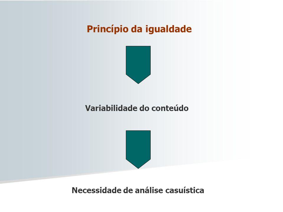Princípio da igualdade Necessidade de análise casuística Variabilidade do conteúdo