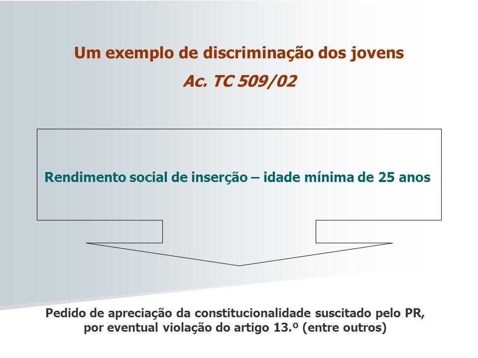 Um exemplo de discriminação dos jovens Ac. TC 509/02 Rendimento social de inserção – idade mínima de 25 anos Pedido de apreciação da constitucionalida