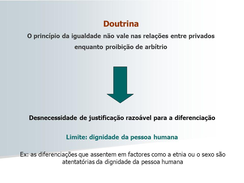 Doutrina O princípio da igualdade não vale nas relações entre privados enquanto proibição de arbítrio Desnecessidade de justificação razoável para a d