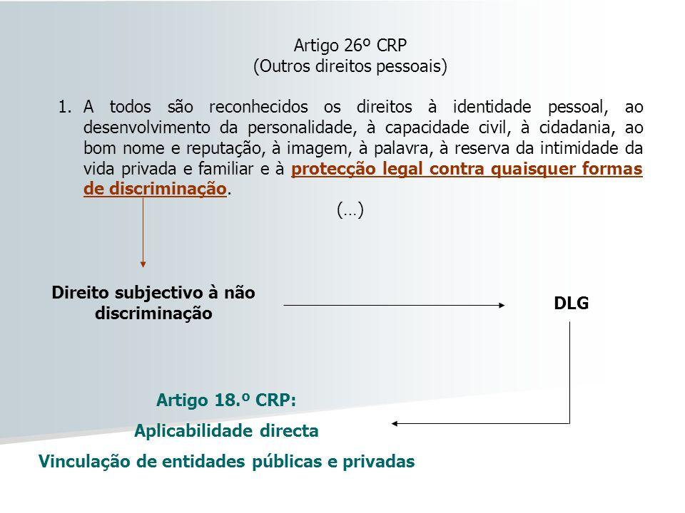 Artigo 26º CRP (Outros direitos pessoais) 1.A todos são reconhecidos os direitos à identidade pessoal, ao desenvolvimento da personalidade, à capacida