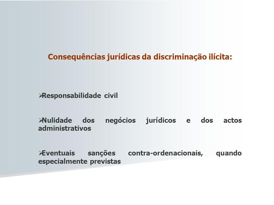 Consequências jurídicas da discriminação ilícita: Responsabilidade civil Nulidade dos negócios jurídicos e dos actos administrativos Eventuais sanções