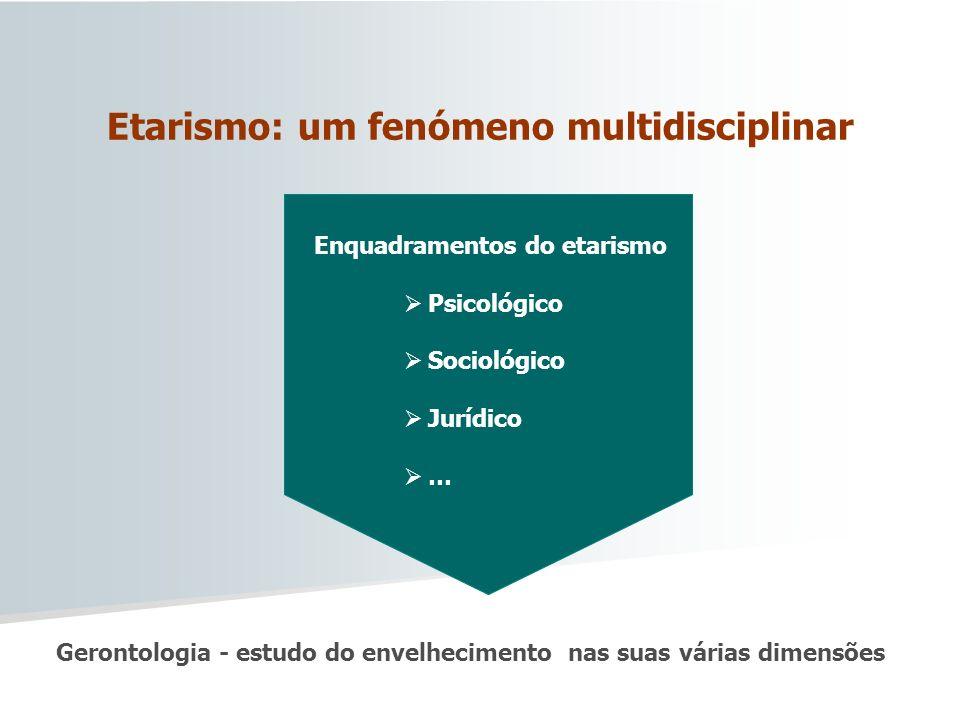 Etarismo: um fenómeno multidisciplinar Enquadramentos do etarismo Psicológico Sociológico Jurídico … Gerontologia - estudo do envelhecimento nas suas